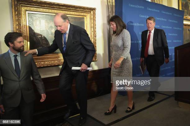 Attorneys Thomas Demetrio and Stephen Golan leave a press conference with Crystal Dao Pepper the daughter of Dr David Dao on April 13 2017 in Chicago...