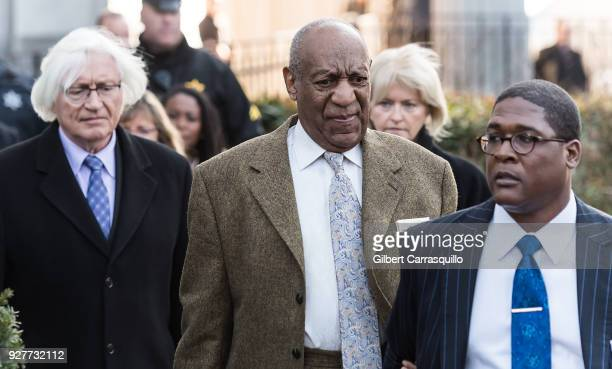 Attorneys Thomas Mesereau Kathleen Bliss and actor/ standup comedian Bill Cosby are seen leaving the Montgomery County Courthouse after a retrial...