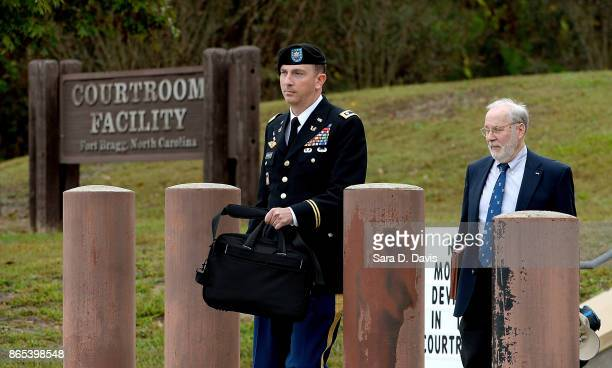 Attorneys to US Army Sgt Robert Bowdrie 'Bowe' Bergdahl Army Lt Col Franklin D Rosenblatt and Eugene R Fidell leave the Ft Bragg military courthouse...