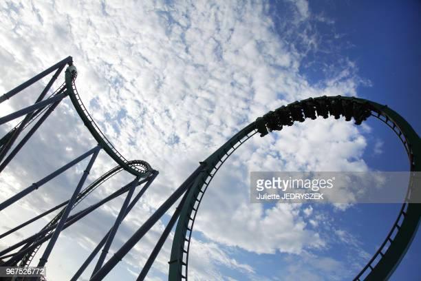 Attraction des montagnes russes 'Hulk' du parc à thèmes Universal Studios Orlando, 15 mai 2015, Orlando, Floride, Etats-Unis.