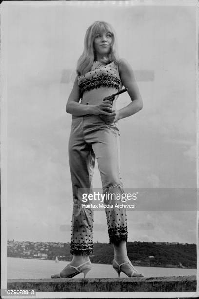 Attractive 22 year old Susan Vaughan model of Cremorne the legs from the gown sleeves The ten pistolwell its not real August 17 1966