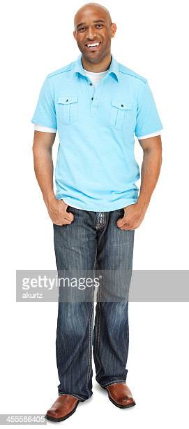 attractive adult male standing confident full length - 30 39 jaar stockfoto's en -beelden