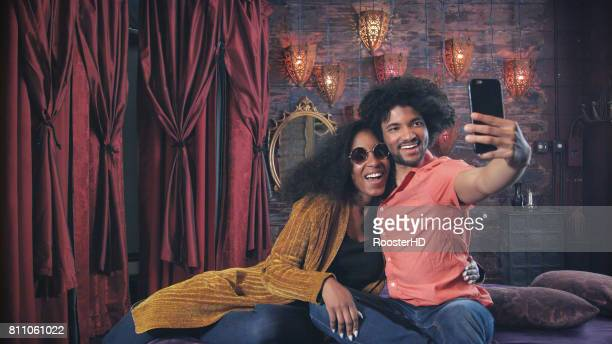 Attractive African American Couple take Selfie