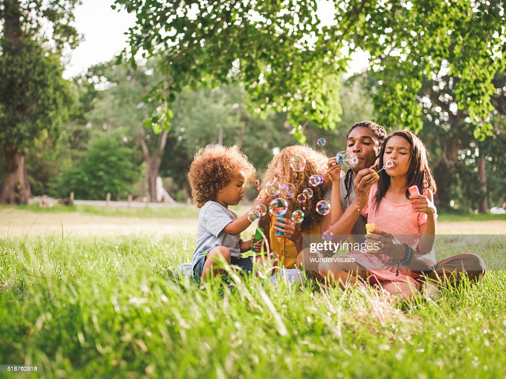 Attractive African-american family spending family time in a bea : Stock Photo