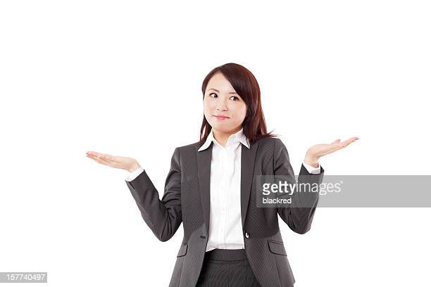 Attractive Asian Businesswoman Showing Nothing on White Background