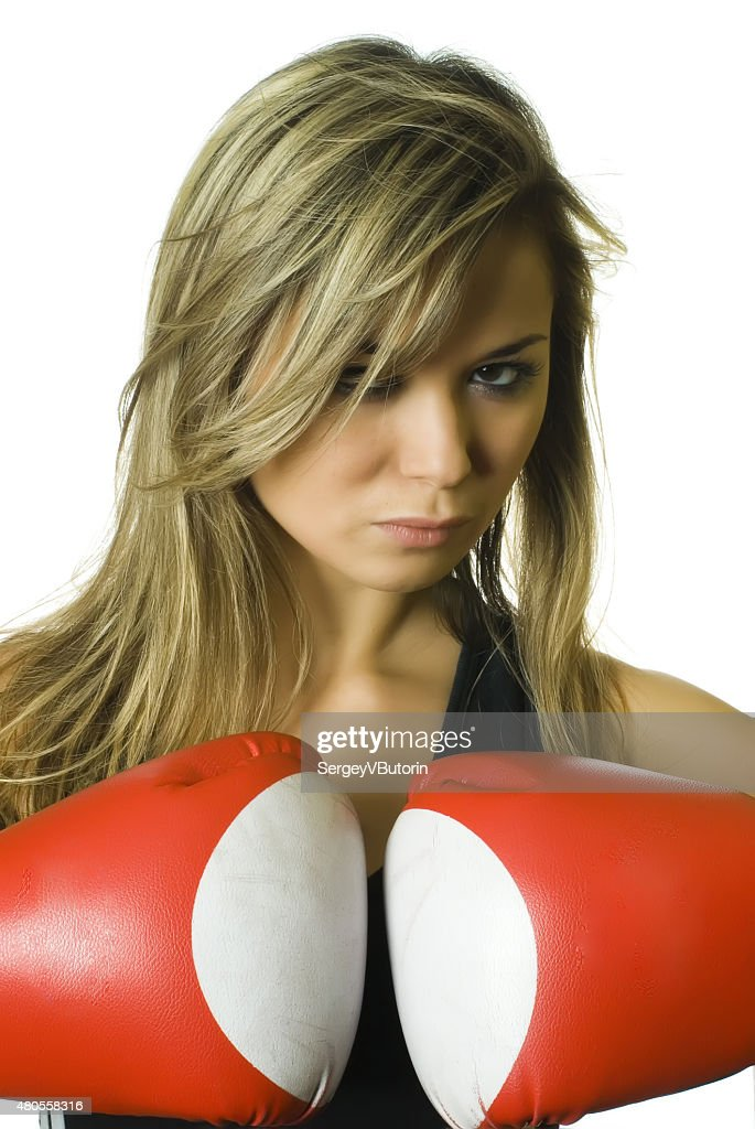 Attractive boxing girl : Stock Photo