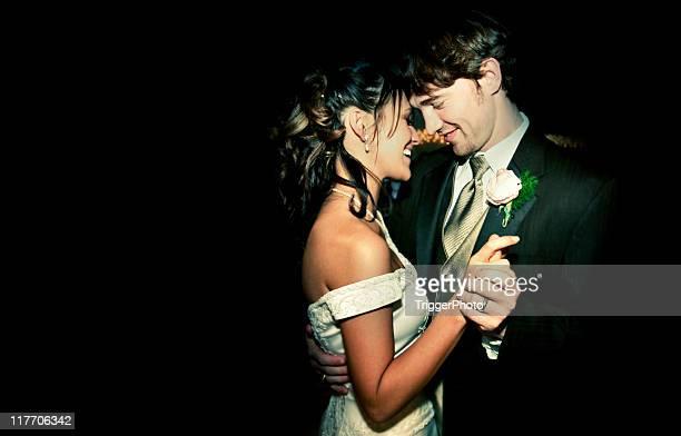 Attractive Bride and Groom Happy Wedding Couple Dancing