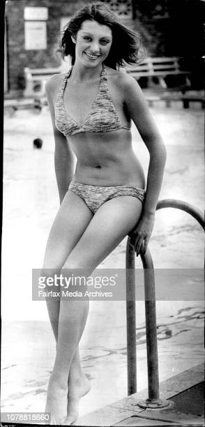 Attractive brunette Lynn Christopher of Vaucluse takes time off her jazz ballet and singing to enjoy a dip at Enfield Swimming Centre Today's weather...