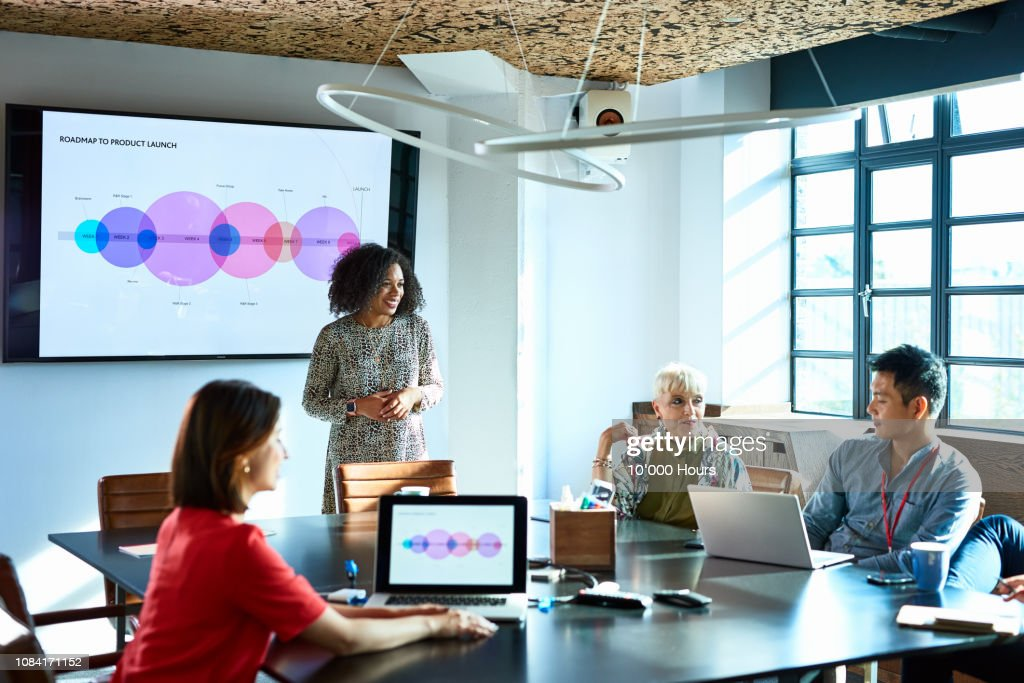 Attractive businesswoman heads strategy meeting in board room : Stock Photo