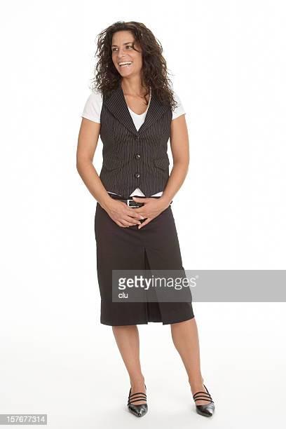 atraente mulher de negócios sorridente e comunicação - cabelo preto imagens e fotografias de stock