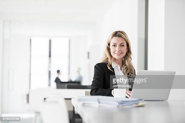 Attractive businesswoman using laptop, smiling