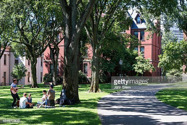 Attractive campus and student life in the commons, Brown university.