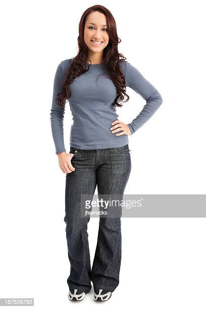 attractive casual young woman - long sleeved stock photos and pictures