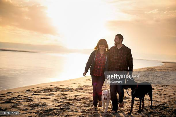 Attractive couple and their dog taking a walk on the