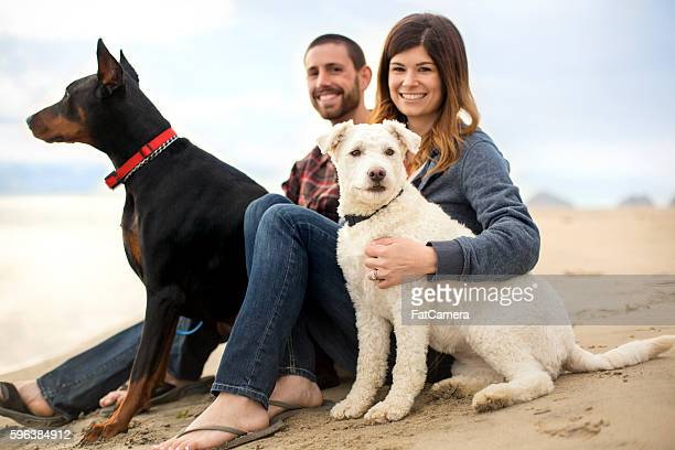 Attractive couple on the beach with their dogs