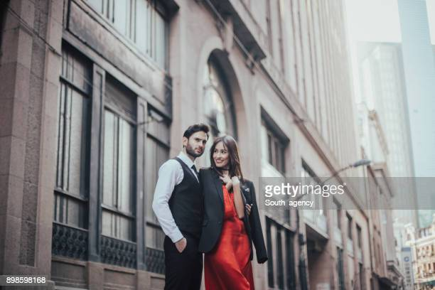 attractive couple - red dress stock photos and pictures