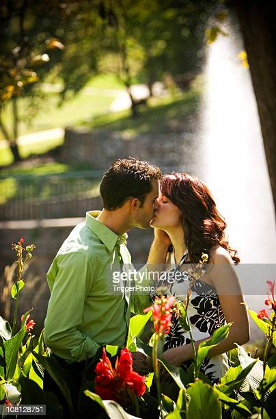 attractive couple portraits - kissing on the mouth stock photos and pictures