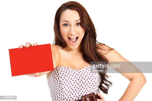Attractive Excited Young Woman with Blank Gift Card