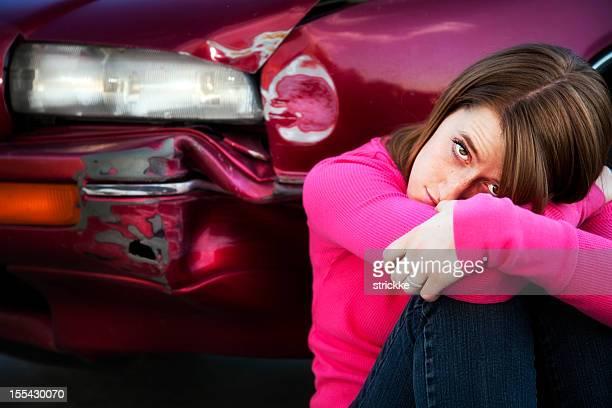 Attractive Female Teenager Depressed over Fender Bender