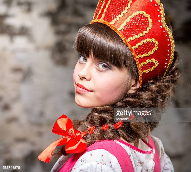 attractive female wearing in kokoshnik - traditional clothing stock pictures, royalty-free photos & images