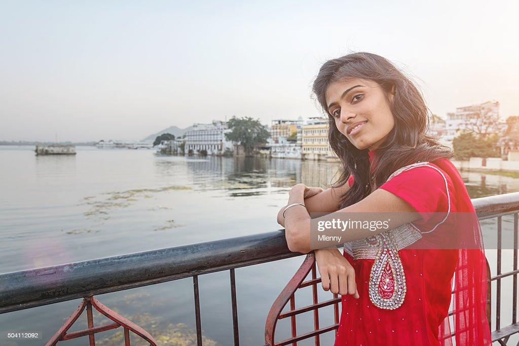 Attractive Indian Bollywood Model at Udaipur City Palace Bridge : Stock Photo