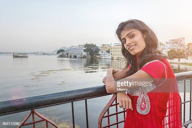attractive indian bollywood model at udaipur city palace bridge - actress stock pictures, royalty-free photos & images