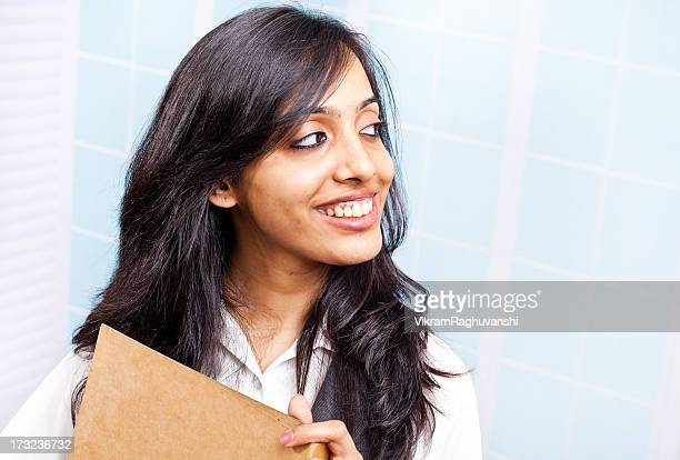 Attractive Indian Businesswoman Office Worker with File Document