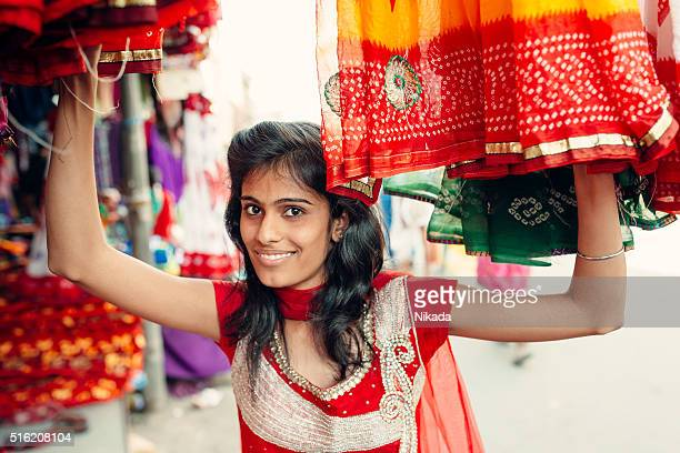 Attractive Indian Woman Shopping in the street
