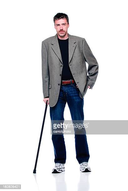 attractive man with cane - walking cane stock photos and pictures