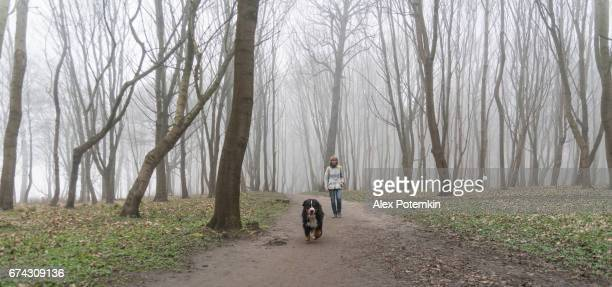 Attractive mature, 50-years-old, woman walking the dog in the foggy forest