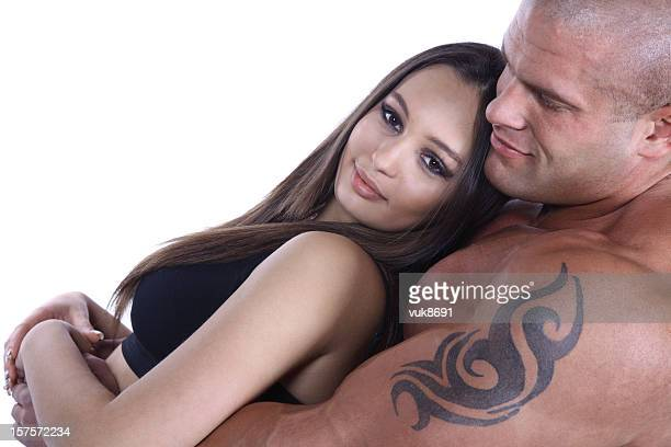 Attractive muscular couple in love
