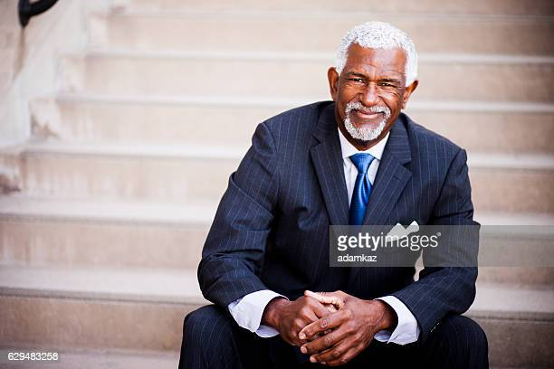 attractive senior african american business man - most handsome black men stock photos and pictures