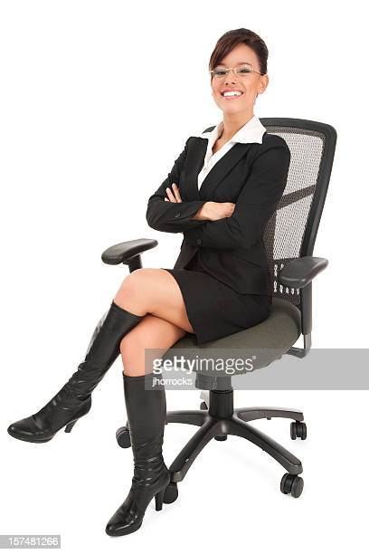 Attractive Trendy Young Businesswoman on Office Chair