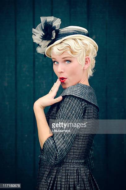 Attractive Vintage Woman 1940's  Hand to Lips