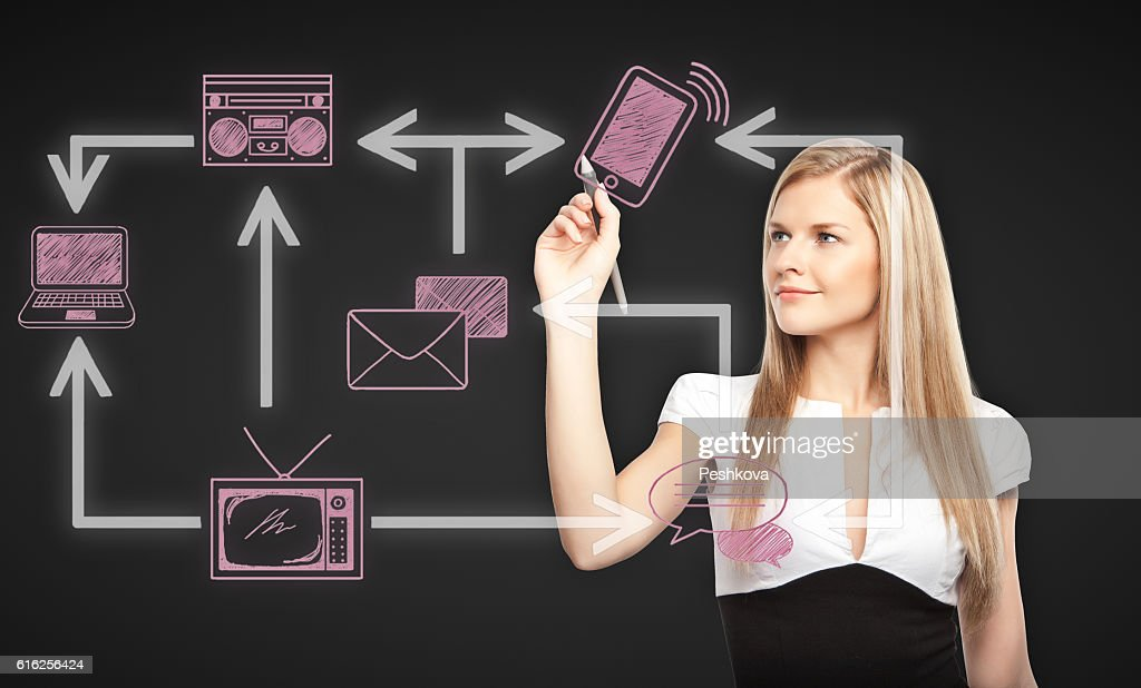 Attractive woman drawing technology network : Foto de stock