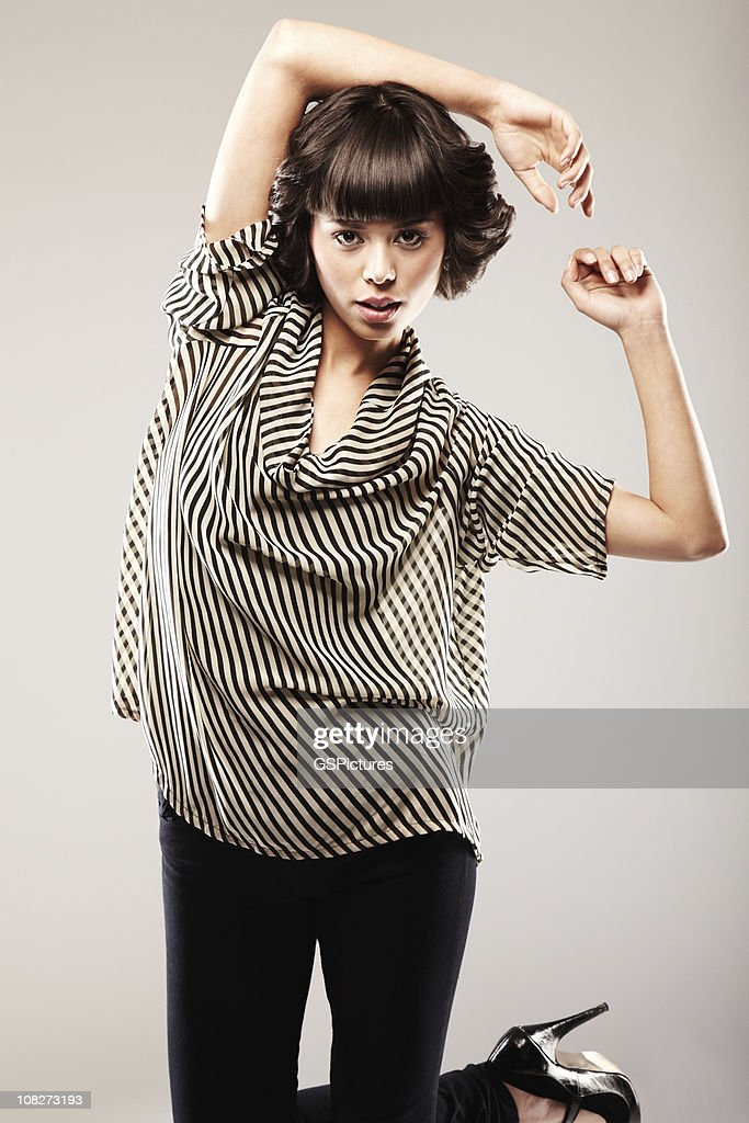 Attractive Woman in a Striped Top : Stock Photo