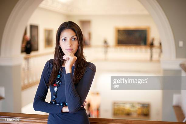 Attractive Woman in an Art Gallery