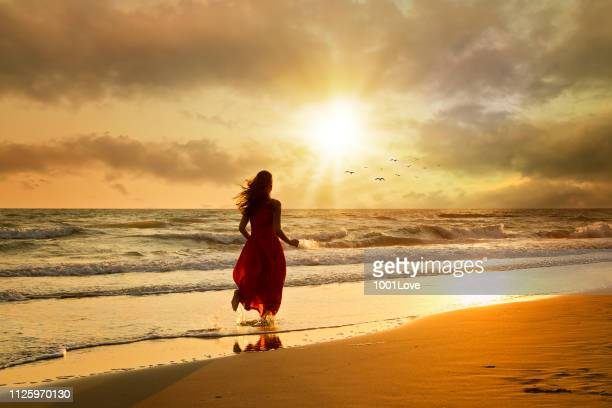 Attractive woman in beautiful dress on beach at sunset