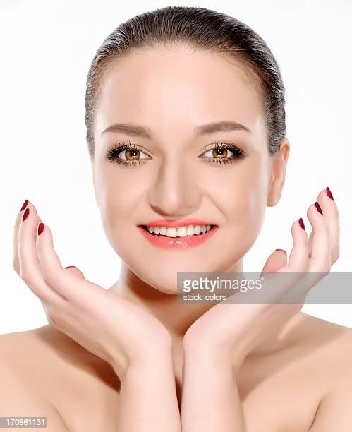 attraente donna - occhi nocciola foto e immagini stock