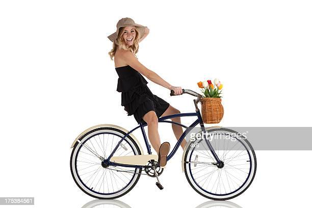 Attractive woman riding a bicycle