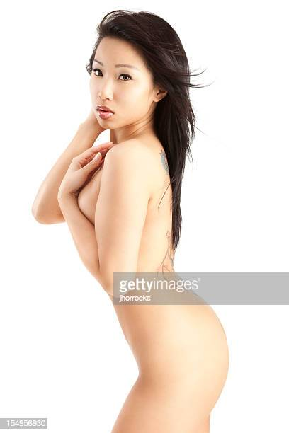 attractive young asian woman posing nude on white - pretty vietnamese women stock photos and pictures