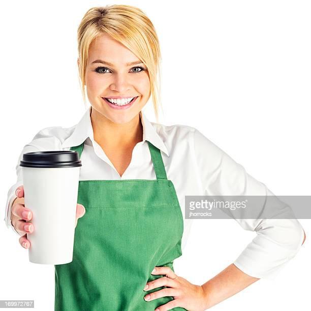 魅力的な若いバリスタ、コーヒーをテイクアウト