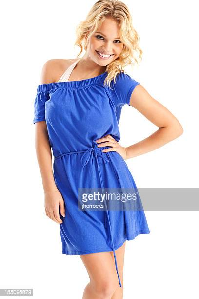 attractive young blonde woman in blue beach cover-up - buxom blonde stock photos and pictures