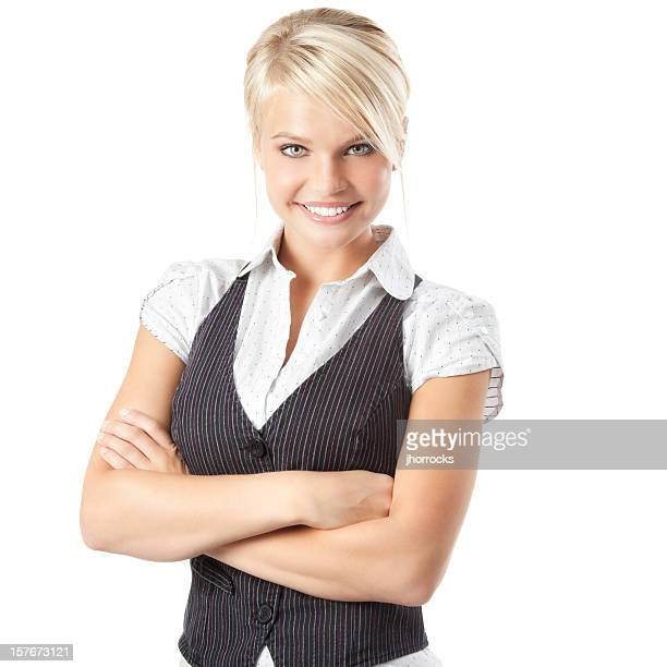 Attractive Young Businesswoman Wearing Vest