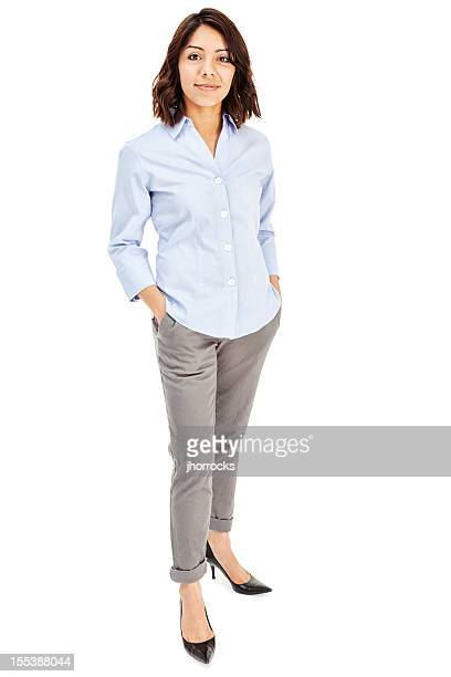 attractive young hispanic businesswoman - trousers stock pictures, royalty-free photos & images