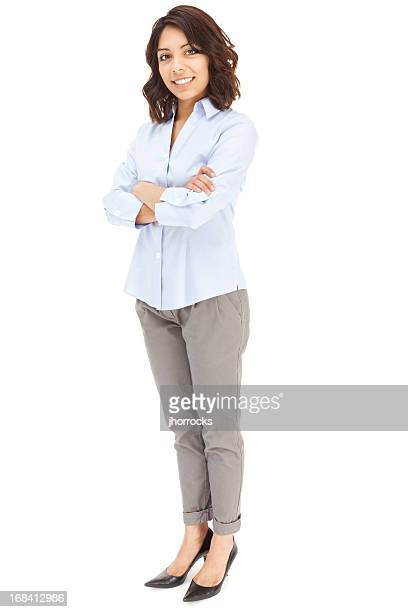attractive young hispanic businesswoman - white pants stock pictures, royalty-free photos & images