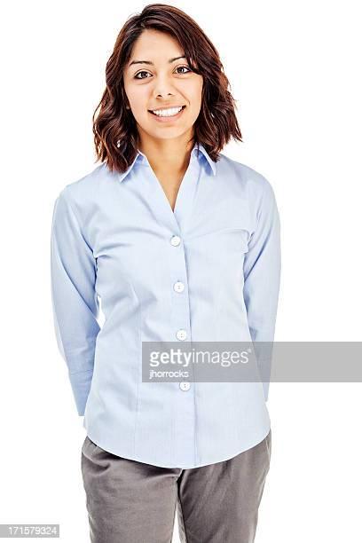 hispânico atraente jovem empresária - camisa - fotografias e filmes do acervo