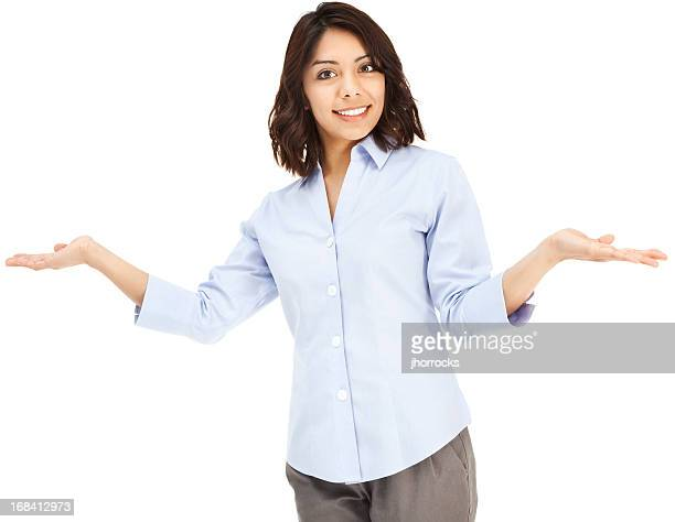 Attractive Young Hispanic Businesswoman Shrugging with Hands Out