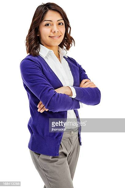 attractive young hispanic woman in purple sweater - mexican business women stock photos and pictures