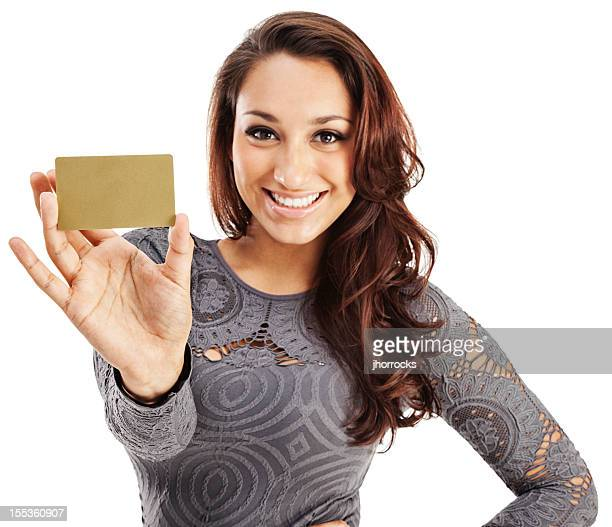 Attractive Young Hispanic Woman with Gold Credit Card